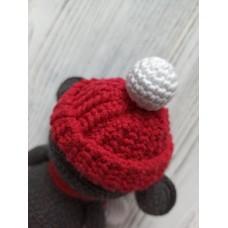М'яка іграшка HandMade Мишеня в'язана 16см, сіро-червоний (TI-001)