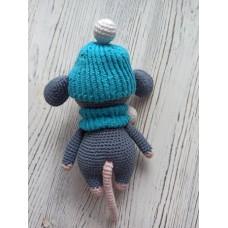 М'яка іграшка HandMade Мишеня в'язана 16см, сіро-голубий (TI-001)