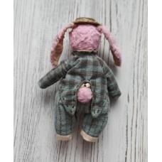 М'яка іграшка HandMade Зайчик Модний кавалер 14 см, рожевий (TI-013)