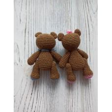М'яка іграшка HandMade Пара ведмежат в'язана 11см, коричневий (TI-003)