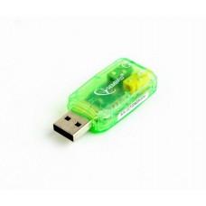 Звуковая карта Gembird SC-USB-01 green USB2.0-Audio