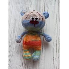М'яка іграшка HandMade Ведмедик-брелок Веселка 11 см, (TI-008)