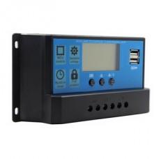 Контролер заряду SLAR 10А KW1024 12/24В з дисплеєм + 2xUSB