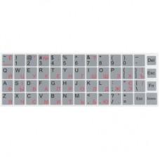 Наклейка на клавіатуру silver, рос/укр/анг, непрозора, срібляста