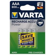 Аккумулятор Varta Recharge Accu AAA/HR03 Ni-MH 800 mAh BL 4шт