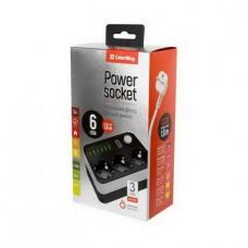 Фильтр питания ColorWay CW-CHE36B 3 розетки, 6 USB, 1.8 м, черный - CW-CHE36B