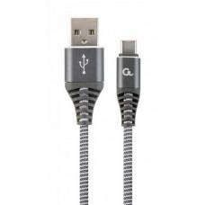 Кабель Cablexpert (CC-USB2B-AMCM-1M-WB2) USB 2.0 A - USB Type-C, премиум, 1м, серый - CC-USB2B-AMCM-1M-WB2