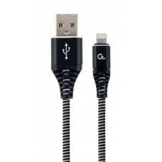 Кабель Cablexpert (CC-USB2B-AMLM-1M-BW) USB 2.0 A - Lightning, премиум, 1м, черный - CC-USB2B-AMLM-1M-BW