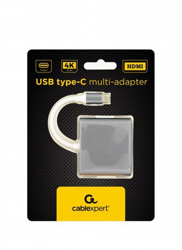 Адаптер Cablexpert (A-CM-HDMIF-02-SG) USB-C - HDMI/USB/USB-C