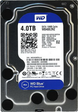 HDD SATA 4.0TB WD Blue 5400rpm 64MB (WD40EZRZ) - WD40EZRZ